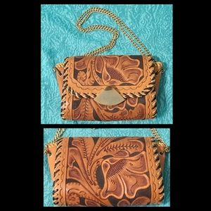 Beautiful VTG Tooled Leather Bag